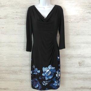 LRL Cowl Neck Stretchy Floral Sheath Dress 2